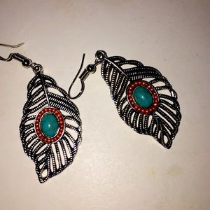 Leaf turquoise fill earrings